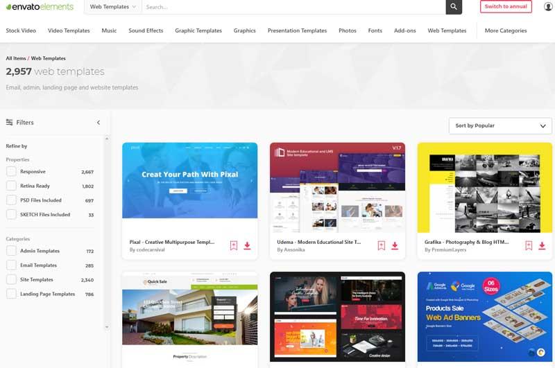 envato elements web templates