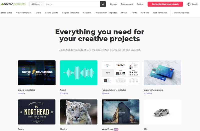 envato elements review screenshot home page